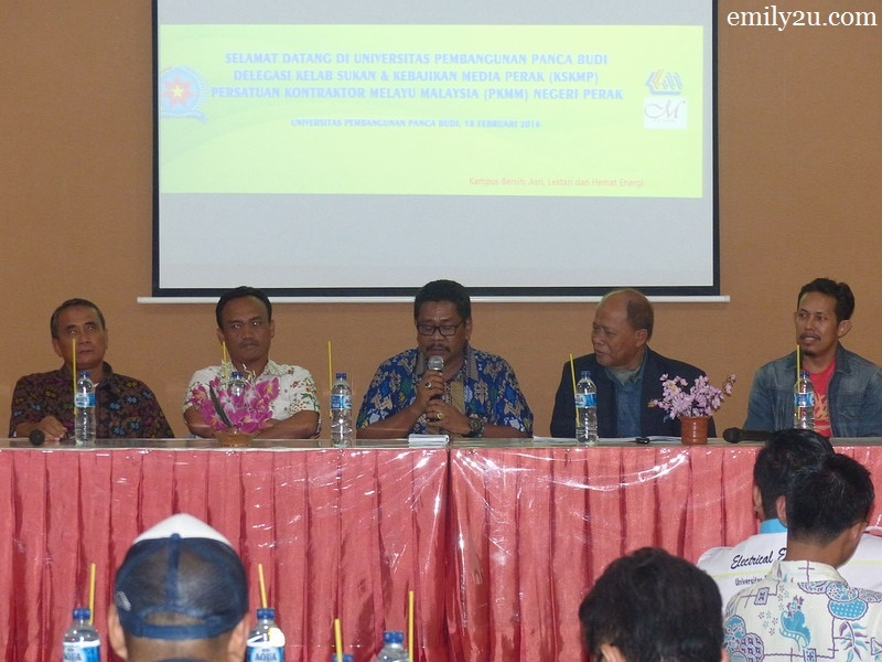 2. during a dialogue at Universitas Panca Budi, Medan