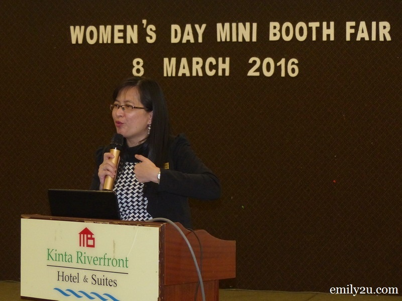 1. Kinta Riverfront Hotel Senior Sales & Marketing Manager Maggie Liew introduces the hotel's inaugural Women's Day Mini Booth Fair