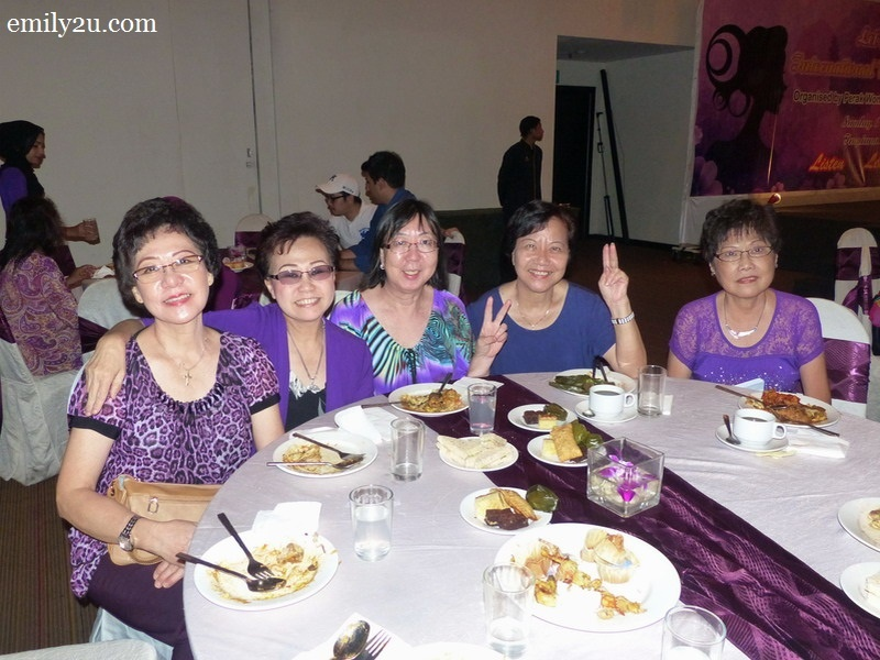 12. guests are clad in different shades of purple