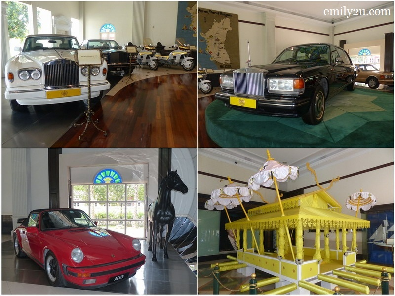 14. Galeri Kereta vehicles used by HRH Sultan Azlan Shah, including the late Raja Ashman Shah's beloved red roadster (bottom left) and the carriage used for HRH Sultan Azlan Shah's final journey upon his demise