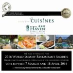 Vote for Cuisines in the 2016 World Luxury Restaurant Awards