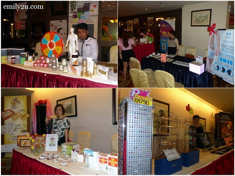 3. participating vendors (clockwise from top left): Rejeune, Mayfair Bodyline, Wendy Hair Care & Jewellery and Shun Dynasty
