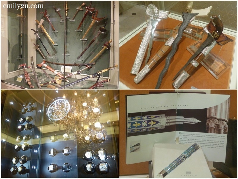 9. personal collections of keris (top), watches (bottom left) and Gothica pen worth more than a million Ringgit