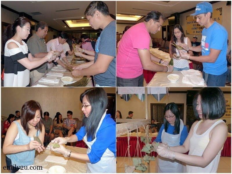 9. the making of rice dumpling in progress