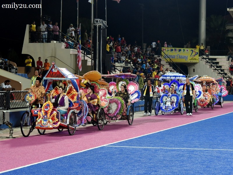 1. a convoy of LED-lighted trishaws arrives at Stadium Azlan Shah, Ipoh
