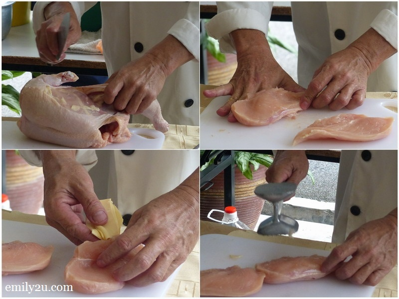 2. Chef Wong prepares Chicken Cheese