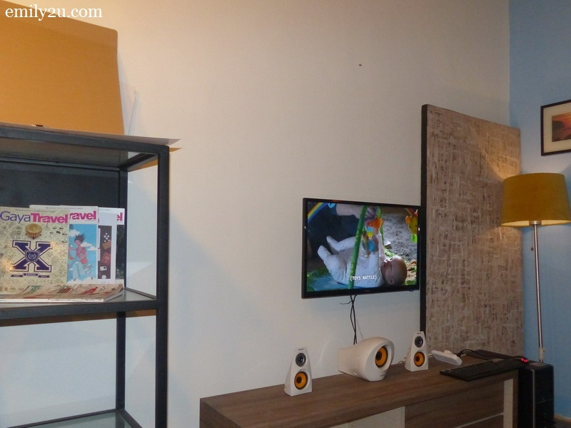 5. entertainment corner - the television streams Netflix and other online channels 24/7