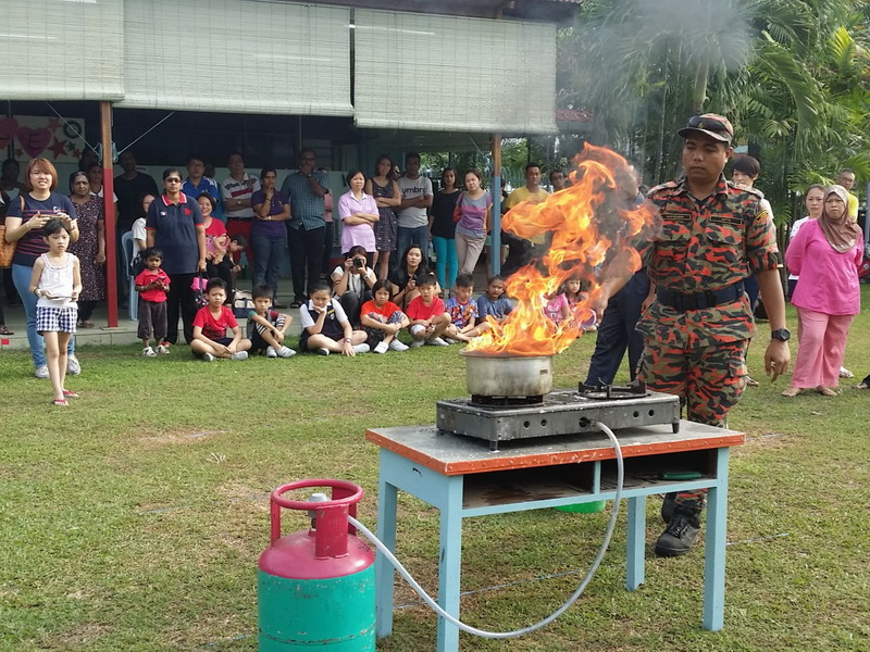 2. a demonstration on fire occurrence in the kitchen