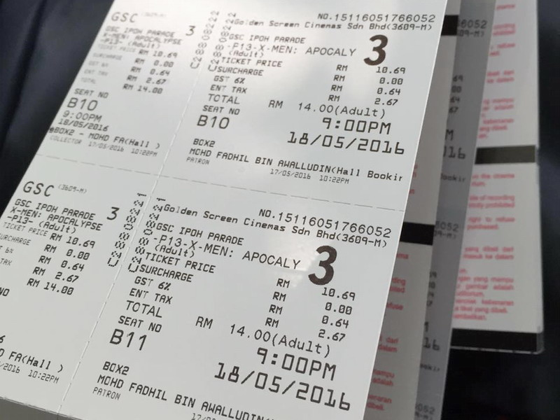 5. tickets to watch X-Men: Apocalypse, courtesy of Honor Malaysia