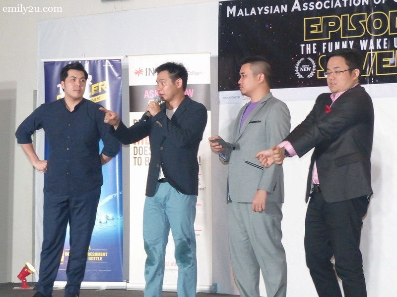 1. Malaysian Association of Chinese Comedians (L-R): Kuah Jenhan, Douglas Lim, Phoon Chi Ho & Dr. Jason Leong