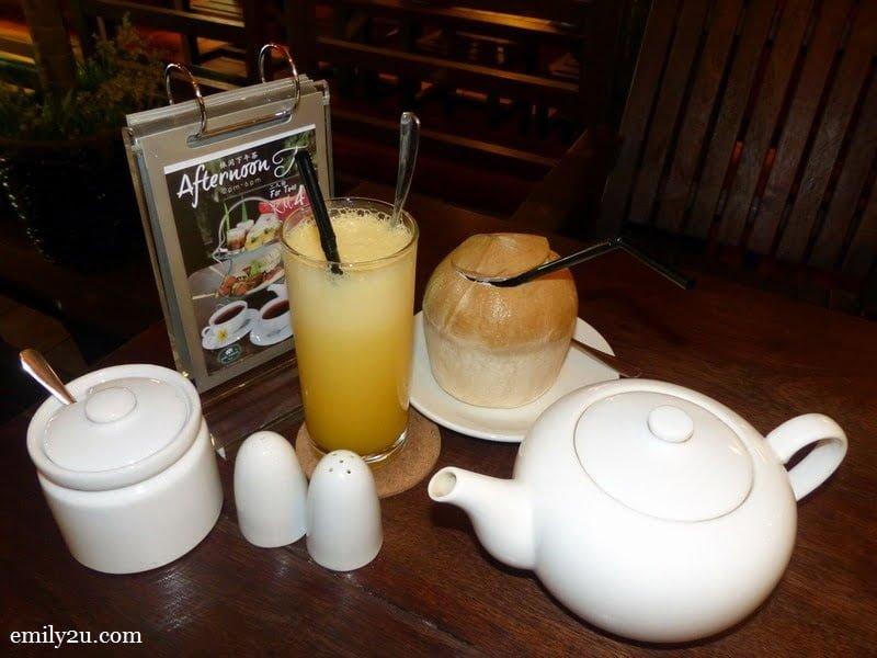 12. beverages: fresh orange juice (RM9), Thai coconut (RM9) & original Sabah tea (RM12 per pot)