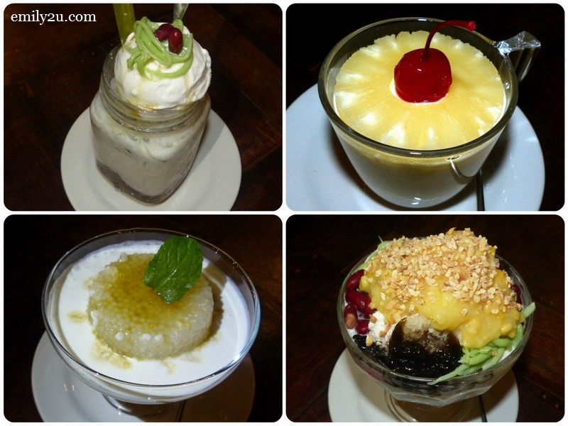 11. dessert (clockwise from top left): Ipoh Cendol topped with Coconut Ice Cream (RM10), Pineapple Cheese Cake, Ais Batu Campur (RM9) & Sago Gula Melaka with Santan (RM8)