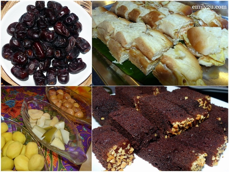 14. clockwise from top left: buah kurma, roti John, chocolate moist cake, jeruk buah