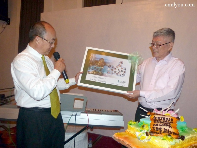12. The Haven General Manager Jimmy Yeo (L) presents a birthday gift on behalf of management and staff to the Best Boss Ever, Mr. Peter Chan (R)