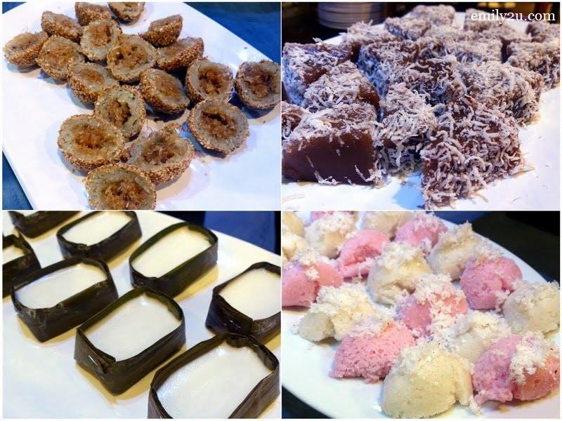 15. clockwise from top left: kuih bom kelapa, kuih kosui, apam & kuih limas (tepung pelita)