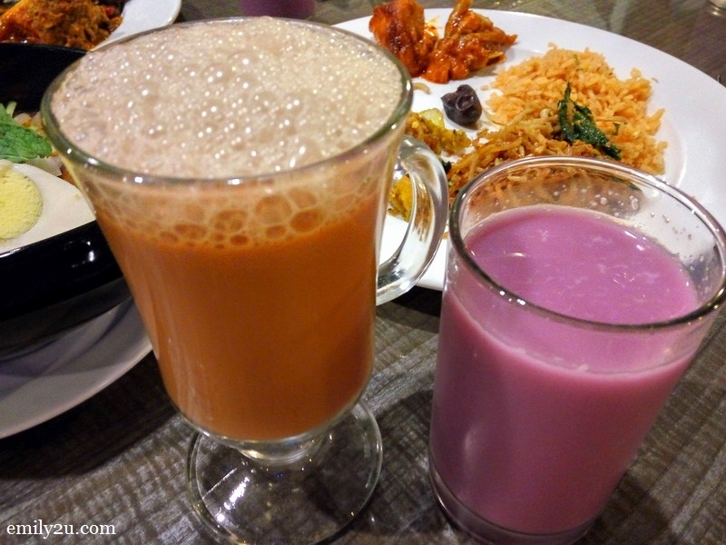 18. beverages (L-R): frothy teh tarik & yam syrup