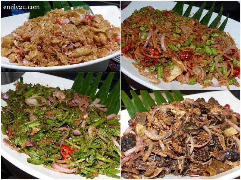 2. clockwise from top left: kerabu telur goreng, kerabu betik, kerabu jantung pisang & kerabu daun selom