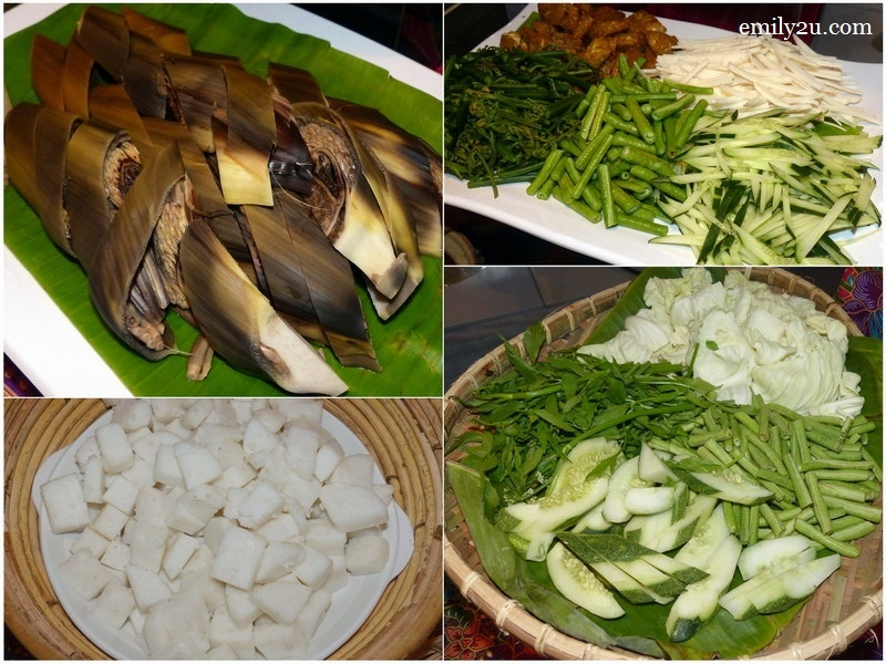 3. clockwise from top left: gado-gado, jantung pisang, ulam-ulaman & nasi impit