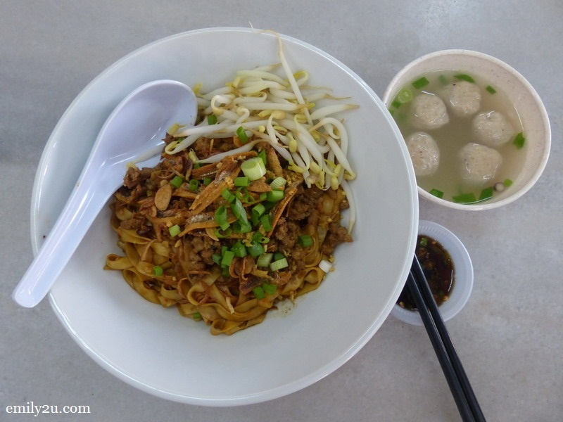5. my choice of dried soy noodles served with pork balls in soup