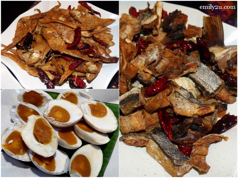 5. clockwise from top left: ikan masin bulu ayam, ikan masin talang & telur masin (salted eggs)