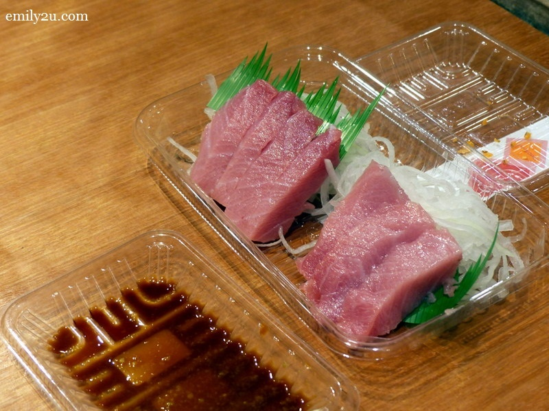 6. and the tuna sashimi is served with its dipping sauce of wasabi and light soy sauce (this portion costs RM204)