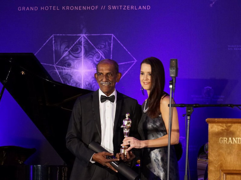 The Tourism Adviser Malaysia for Switzerland, Datuk Jeffery Sandragesan (L), receives the two awards on behalf of The Haven at a gala ceremony in Switzerland