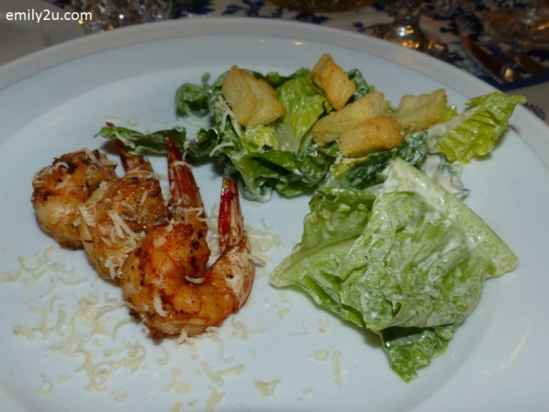 10. appetiser - Cajun Caesar Salad with Grilled Prawns