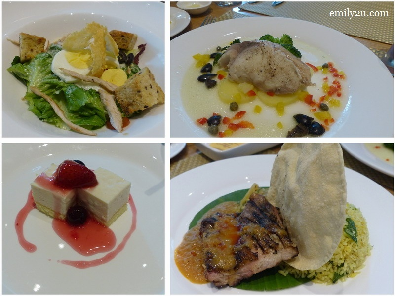 15. lunch at the all-day dining Kafe Oasia (clockwise from top left): Classic Caesar Salad, Poached Organic Garoupa Fillet with Asian Green, Organic Ayam Percik Kelantan & Tofu Cheesecake