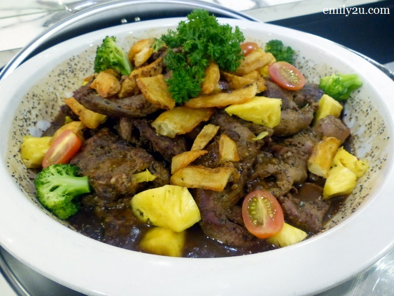 2. grilled beef steak with black pepper sauce