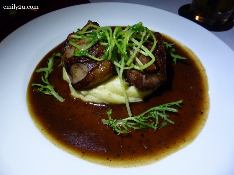 8. lamb cutlet on garlic mashed and lamb jus