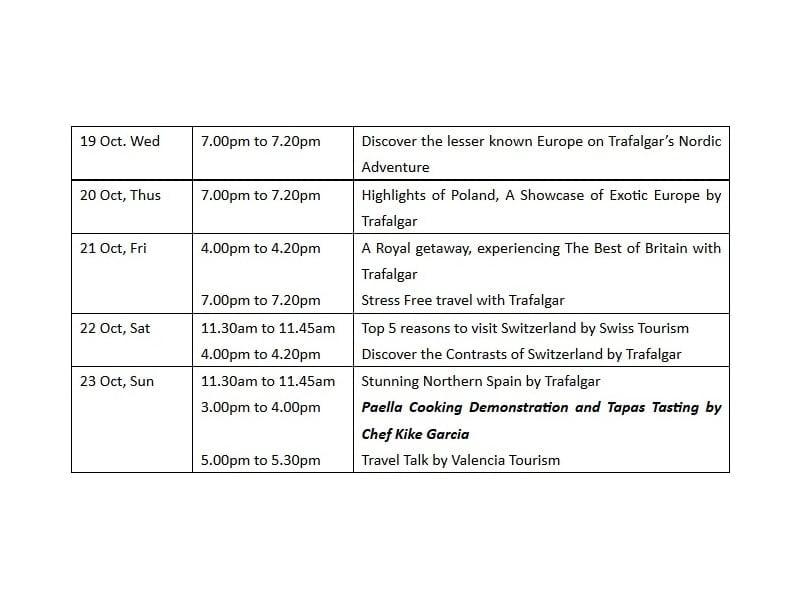 free travel talk schedule