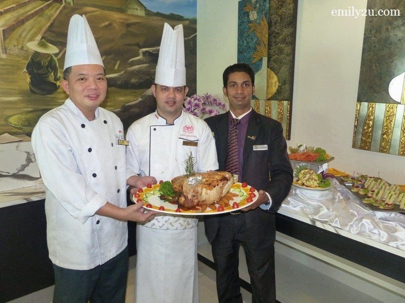 1. L-R: Pastry Chef Henry Heng, Sous Chef Mohd. Fami & Outlet Assistant Manager S. Kumar