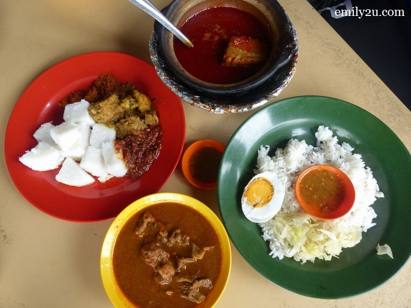 1. a typical meal at  Warung Kari Kambing Power & Asam Pedas Claypot in Asahan, Jasin, Melaka