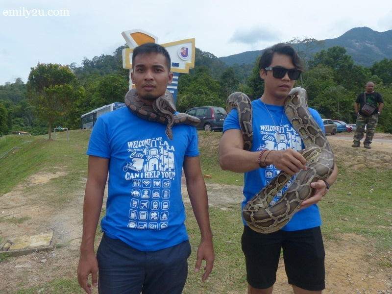 2. Syed Ali (L) & Pojie (R) take the opportunity to handle snakes