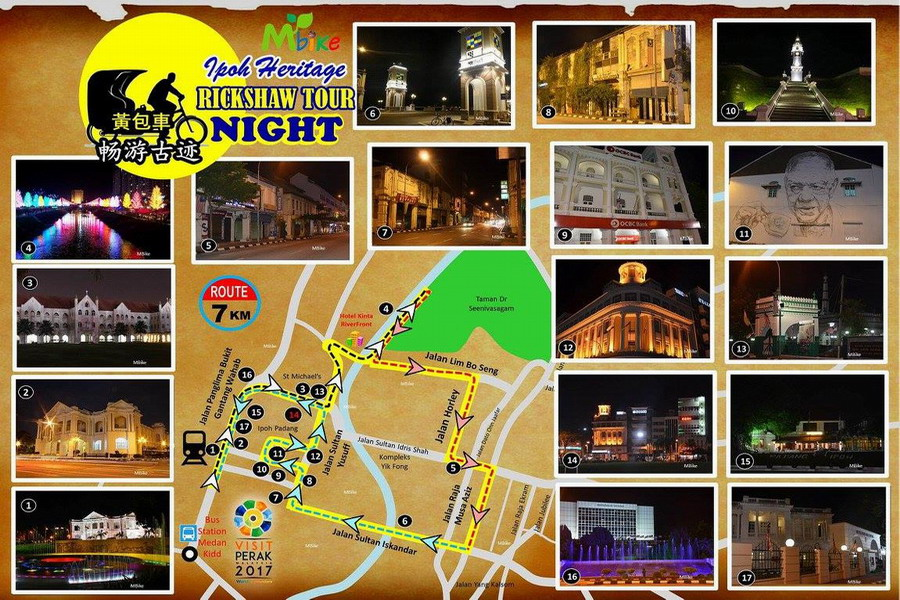 3. Ipoh heritage rickshaw tour night route