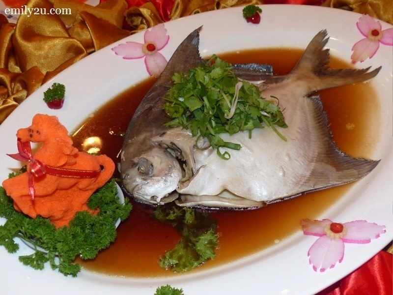 14. Menu D - Steamed Pomfret Fish in Soy Sauce