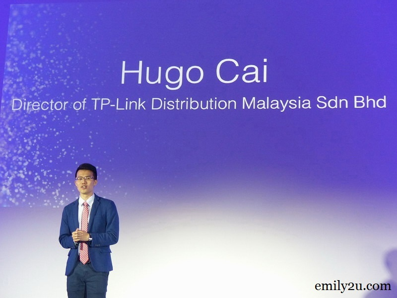 1. welcome speech by Hugo Cai, Director of TP-Link Distribution Malaysia Sdn. Bhd.