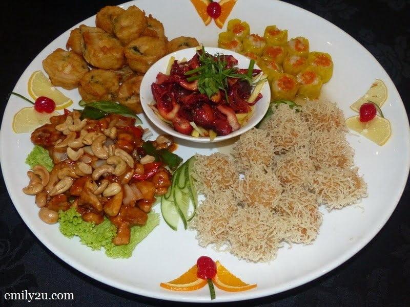 5 Hot & Cold Combination: Szechuan Chicken, Deep Fried Century Rolls, Assorted Dim Sum, Red Octopus with Mango Salad & Prawn Fritters