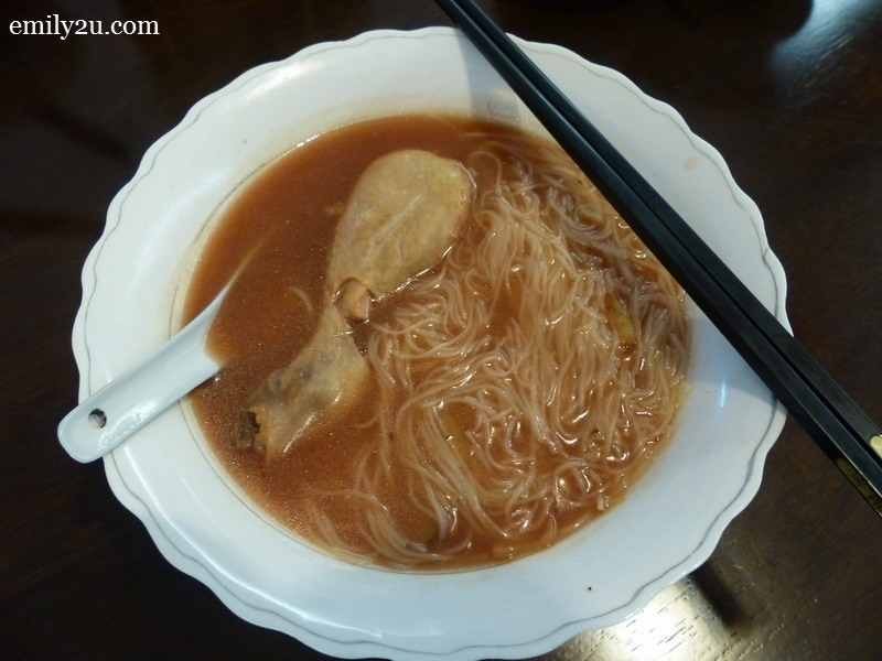 6. mee sua (noodles) with a chicken drumstick in homemade red wine
