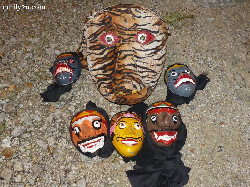 8. masks used in the Kuda Kepang dance