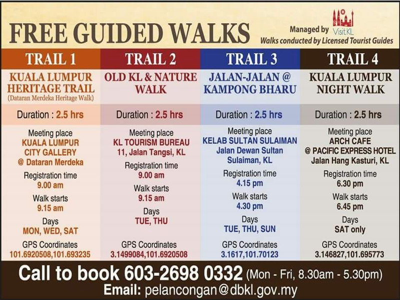 schedule for free guided KL heritage walks