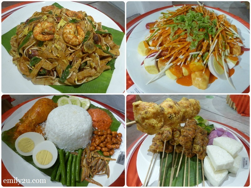 19. popular local food (clockwise from top left): char kuey teow, pasembur, satay & nasi lemak