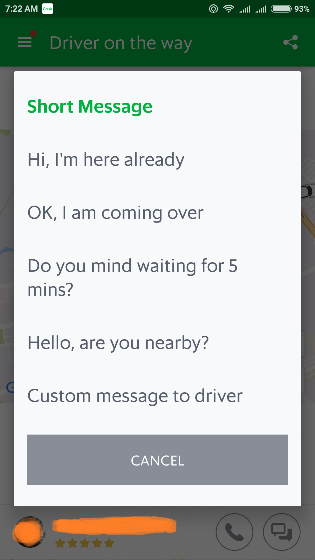 2. message the driver conveniently