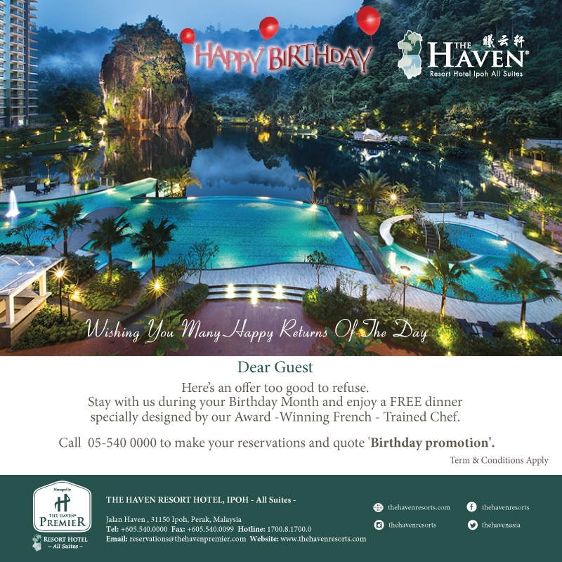 celebrate your birthday at the haven this from emily to you