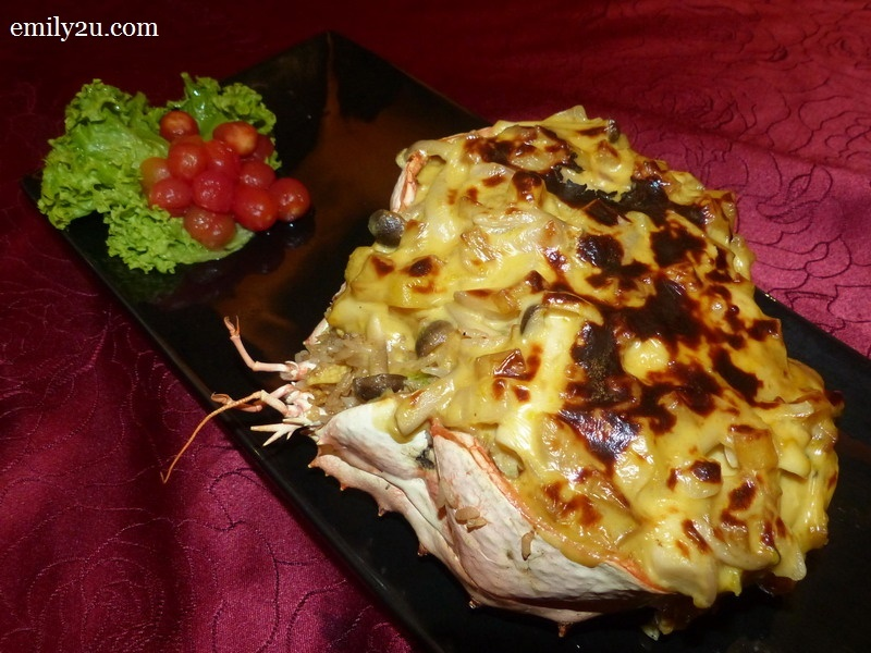 10. Baked Crab Shell stuffed with Dry Scallops and Pearl Rice
