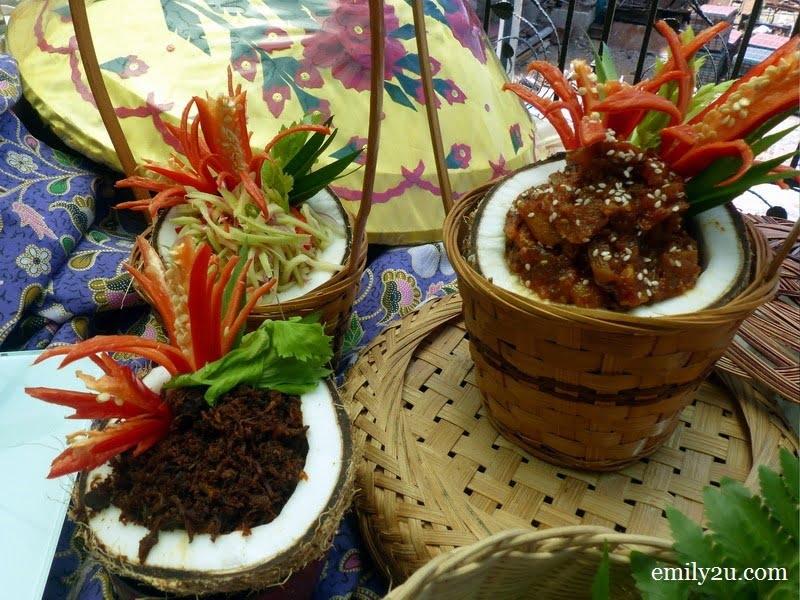 15. clockwise from left: serunding daging, kerabu mangga & acar