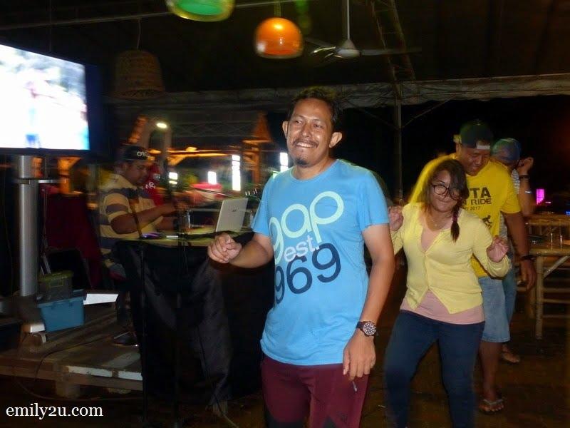 3. dancing to Poco Poco