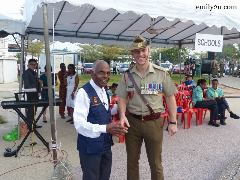 1. Founder President-cum-Patron of Warriors Association Malaysia (WIRA) Dato' R. Thambipillay (L) with Lt. Col. Malcolm Beck of 2nd / 30th Training Group, RMAF Base, Butterworth (R)