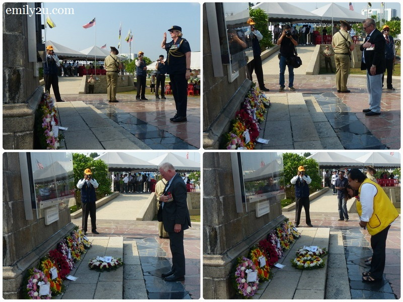 12. laying of wreath by (clockwise from top left): Group Captain Wendy Horder from the Australian High Commission, Jas Huseha representing National Malaya & Borneo Veterans Association Australia (NMBVAA), Mrs Pushpa Malar Jeyasingam (Lioness Club) and Ian Holthouse representing Naval Association Australia (Western Australia Branch)