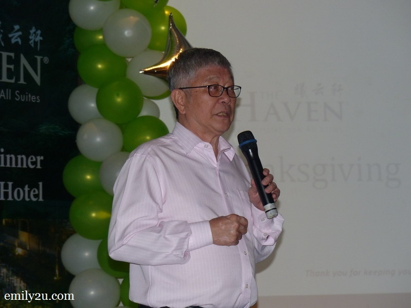 9. Mr. Peter Chan, CEO of The Haven, addresses his guests